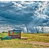 """Approaching Storm,"" microcabin where we stayed outside Mansfield, ND, population 93."