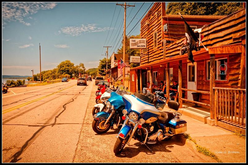 """Watering Hole.""  Wooden Nickel Saloon, Ferryville, WI.  Population 173."