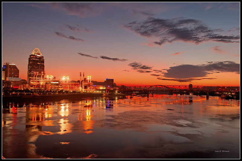 Sunrise in Cincinnati, view 2, looking east over the Ohio River