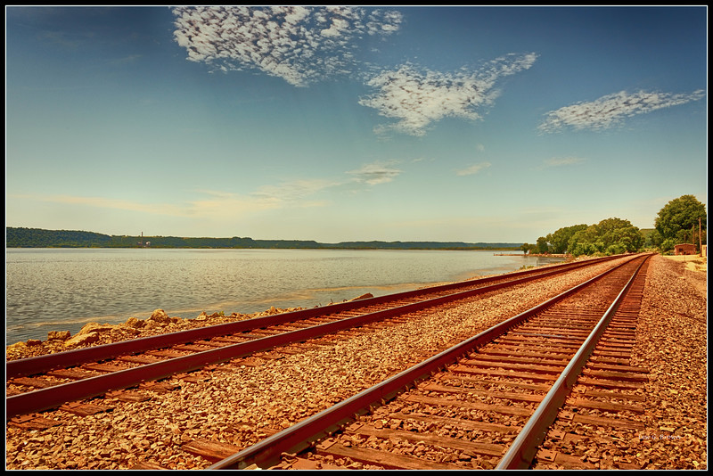 Railroad tracks along the Mississippi near Ferryville, Wisconsin.