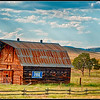 Farm buildings along I-90 in Montana