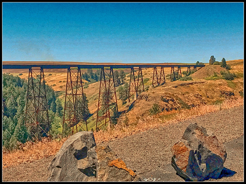 296' high and 1,500' long metal railroad trestle across Lawyer's Canyon, Idaho.  1908.