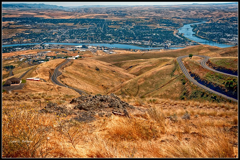 View of Lewiston, Idaho.   Snake River.