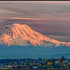 Sunset on Mt. Rainier as seen from downtown Tacoma
