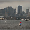 """A Splash of Color""  Foggy, Rainy Seattle - Lake Union"