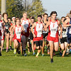 The Frankton Eagles led by Parker Williams are at the front of the pack at the start of the cross country sectional at Pendleton Heights on Tuesday.