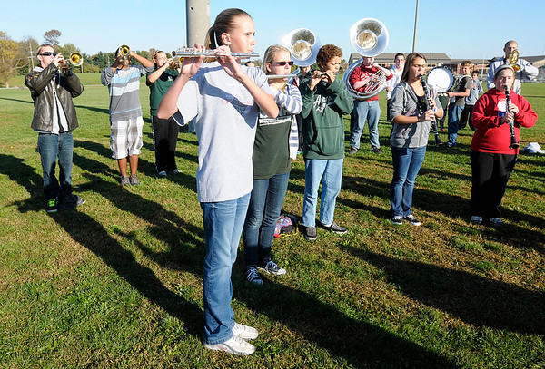 """The Pendleton Heights' band performs """"The Star-Spangled Banner"""" before the Cross Country sectional at Pendleton Heights on Tuesday."""