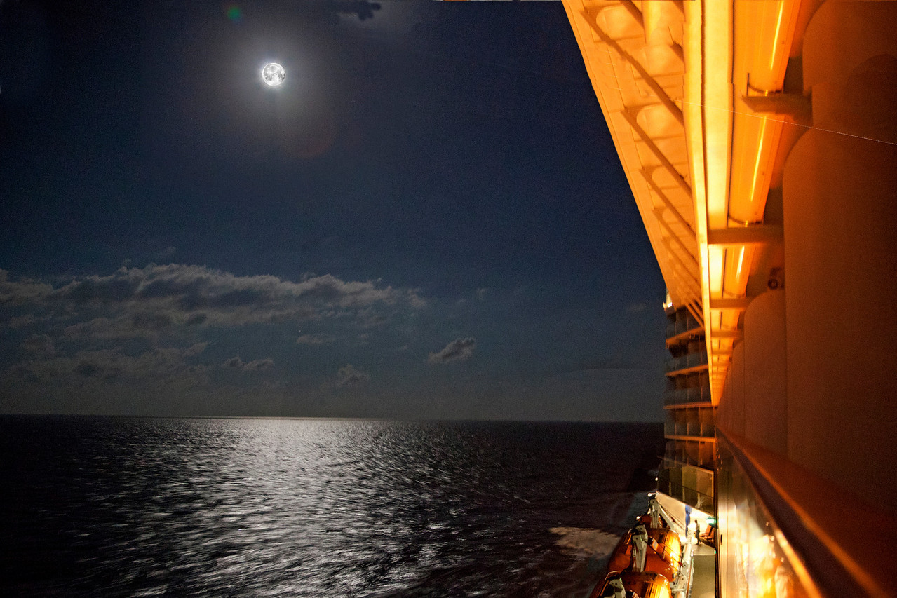 Full Moon at 3 AM on the way to Miami.  Can you believe there is someone walking on deck below?  at 3 AM?