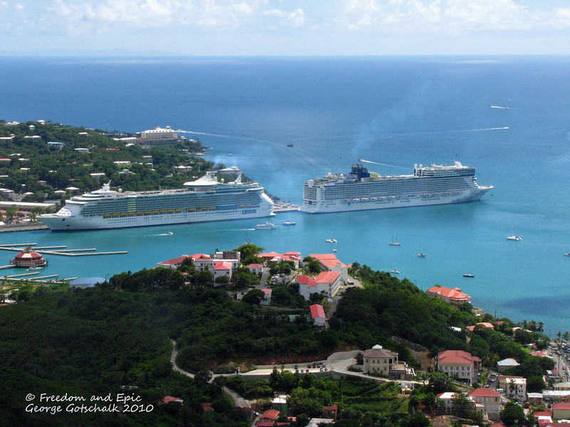 Freedom of the Seas and Epic in St. Thomas