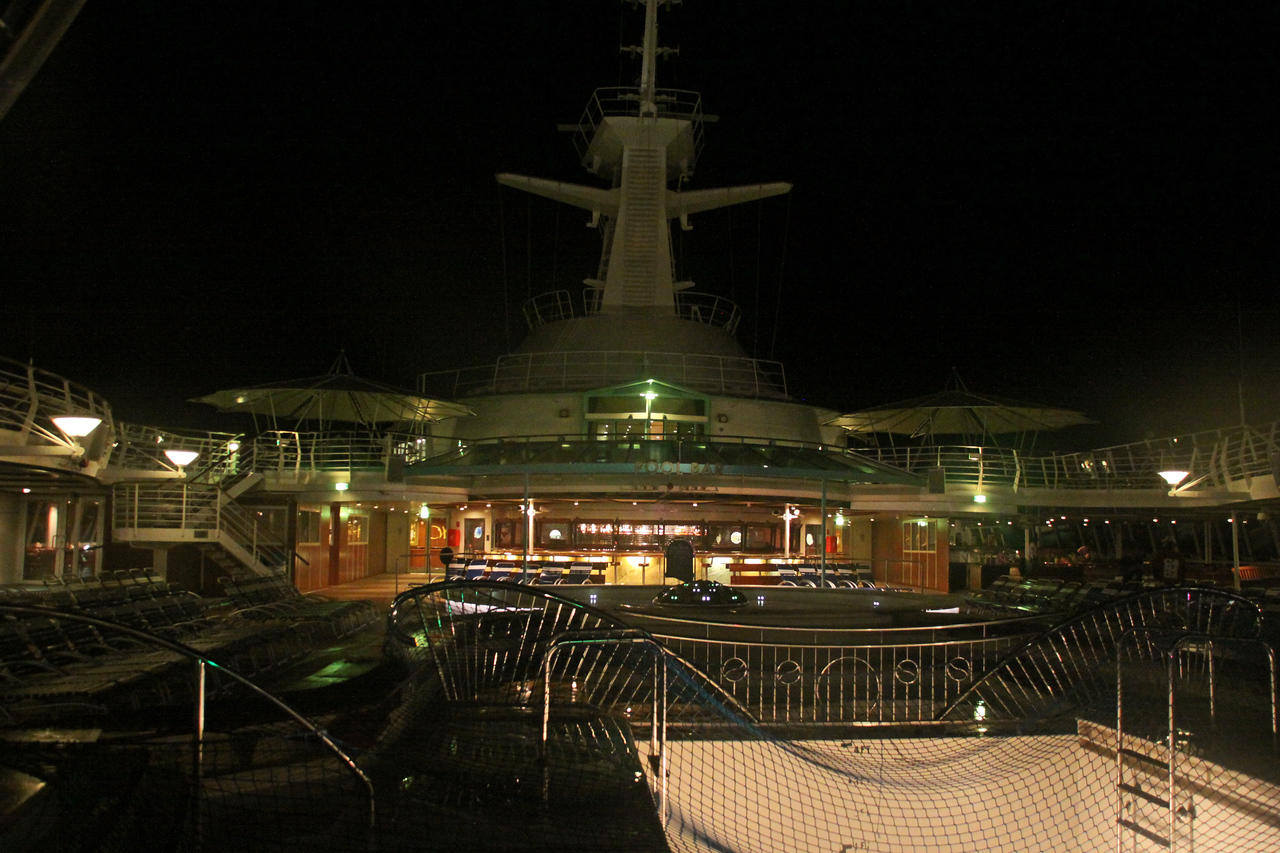Enchantment of the Seas Pool Deck at night