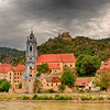 Durnstein.  Small village on the Danube in the Wachau Valley.  Note castle ruins above town.