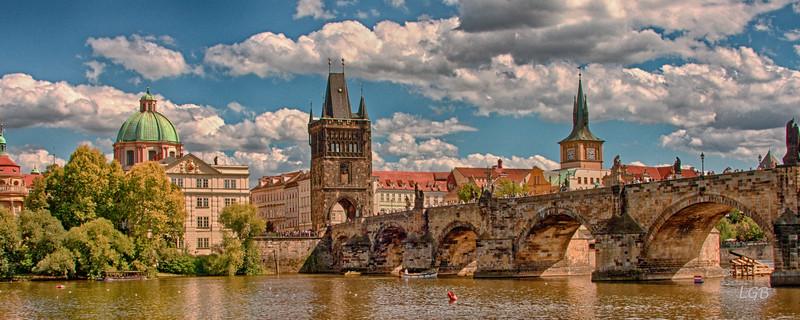 Charles Bridge, Prague. Around 1400.  Connects Old Town with Prague Castle.