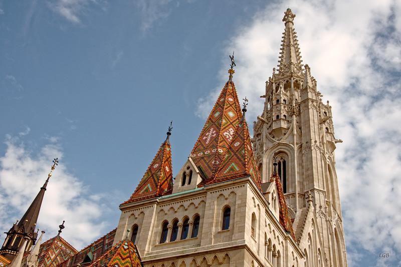 Matthias Church roof with ceramic tiles.