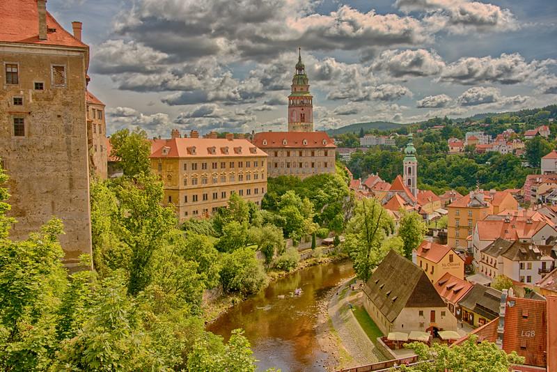 Castle at Cesky Krumlov on the Vltava River, Czech Republic.  1240 AD.