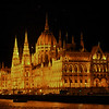 Budapest Parliament Building at night.  1904.  Gothic revival.