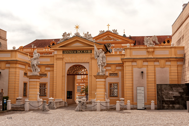 Entrance to Melk Abbey.  Abbey completed in 1738.