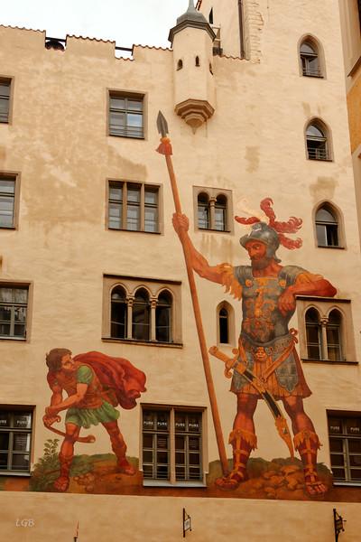 David and Goliath fresco in Old Town Regensburg.