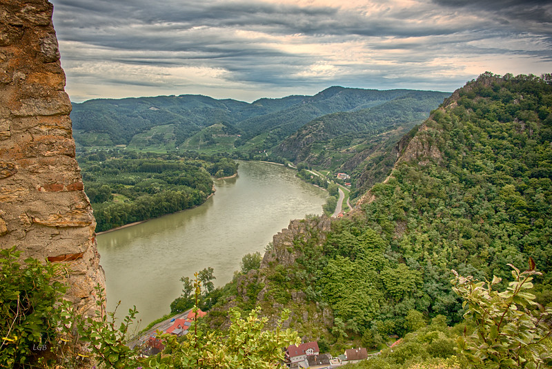 View of Wachau Valley and Danube River from Burgruine Castle.