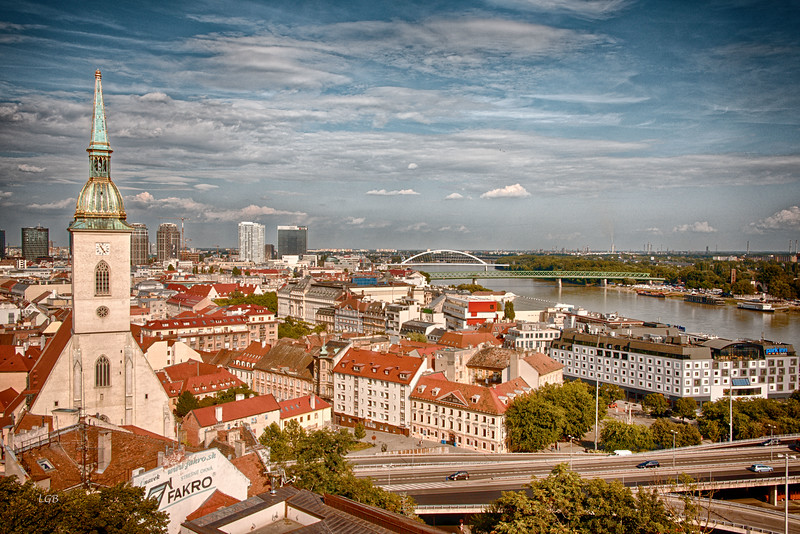 View of Bratislava from the Castle.  St. Martin's Cathedral in foreground