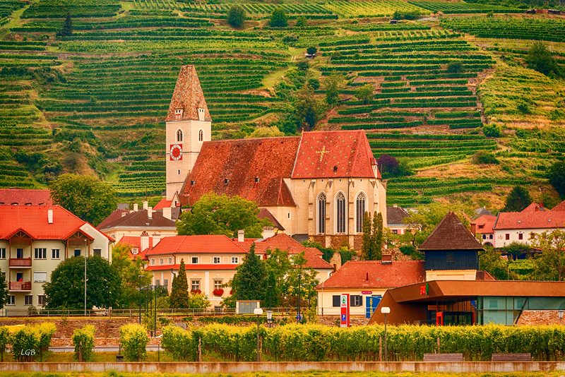 Typical town in Wachau Valley wine growing area.