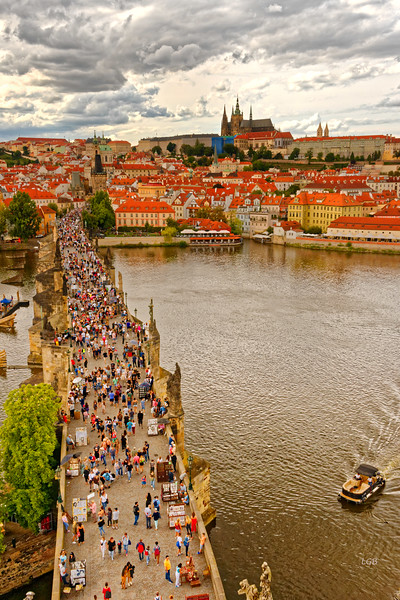 View of the Charles Bridge from Old Town Tower, looking toward Palace