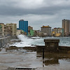 Waves crashing on the Havana Malecon