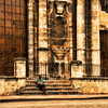 Woman in front of the Catedral, Havana