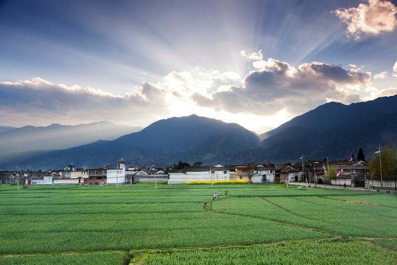 Sunset Over Fields, Yunnan, China