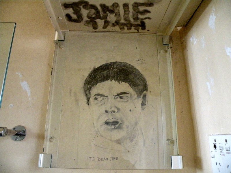 One of the last inmates, who artistically decorated his cell in the 1990's.