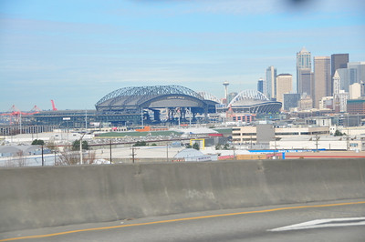 The 2 stadiums side by side, safeco and quest field