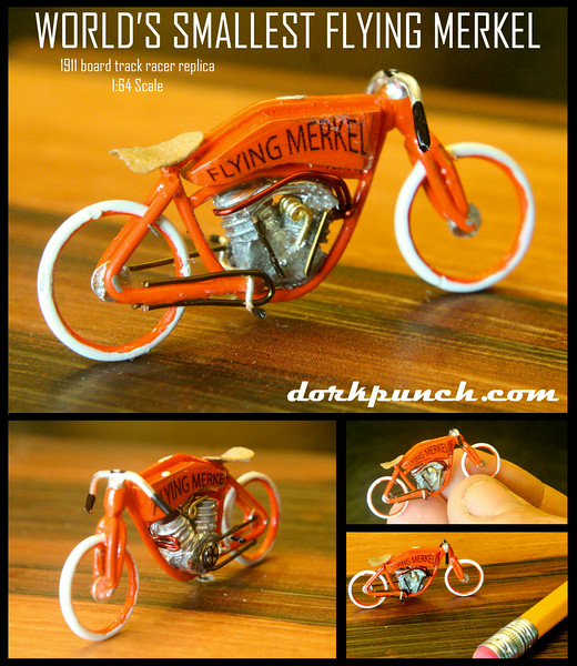 The World's smallest Flying Merkel- a 1:64 Scale replica of the 1911 Board Track Racer.