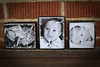 Wooden blocks, distressed black with black and white photos