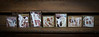 Wooden blocks distressed walnut with muted color photos