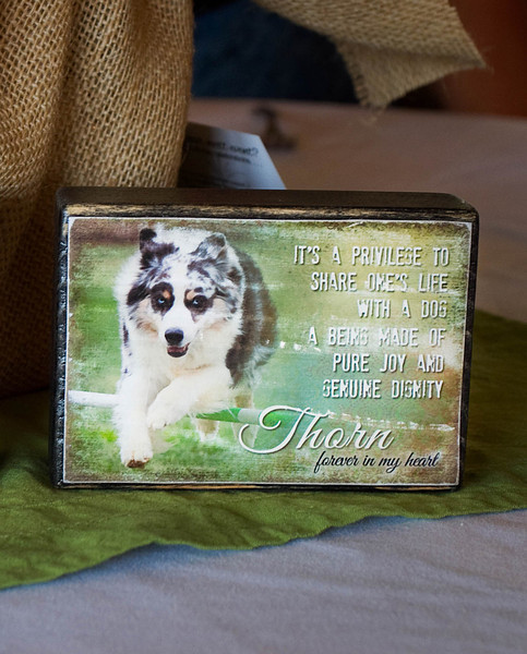 Memorial block ~ black distressed with color photo and message