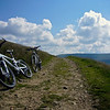 My bike (rear) and Russell's Trek on a track out of Kettlewell. Here we're at the top of an exhausting climb.