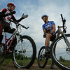 Feature on cycling in the Boulder area, Colo., on Wednesday, June 9, 2004.  Mountain bikers at an informal race near the CU Research Park in Boulder.  Matt Opperman, mechanic for Specialized, and Travis Brown of the Trek-Volkswagen team.<br /> PHOTO STEVE PETERSON