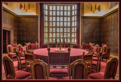 Negotiating table at the Potsdam summit between Churchill (and Atlee,) tall chair on left, Truman, center and Stalin, right, at the Cecilienhof, Potsdam, Germany.