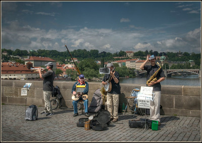 The Bridge Band on the Charles Bridge, Prague, Czech Republic.