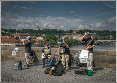 The Bridge Band on the Charles Bridge, Prague, Czech Republic.