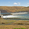 John Day Dam on the Columbia River running at full discharge over the spillways.
