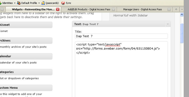... then pasted into a text file in the sidebar widget on the site.