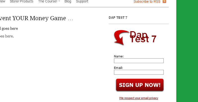 The test form as it appears on the site.