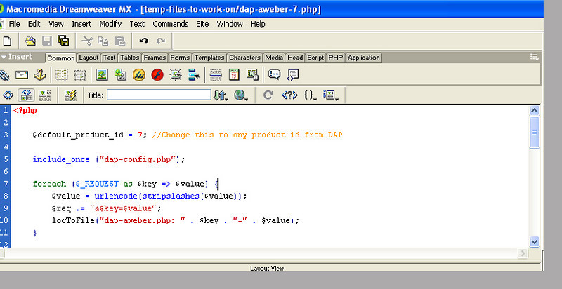 The code I put into dap-aweber-7, saved, then uploaded to the the /dap/ directory.