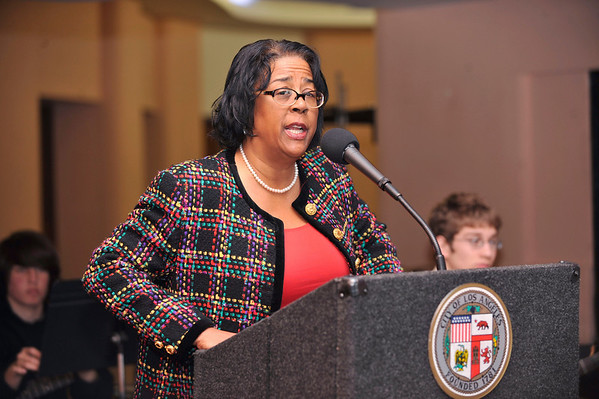 """DIVAS"" Join Bernard Parks, and city officials to kick off restoration of historic vision theatre in Leimert Park Village on March 3, 2011. Council Woman Jan Perry Valerie Goodloe"