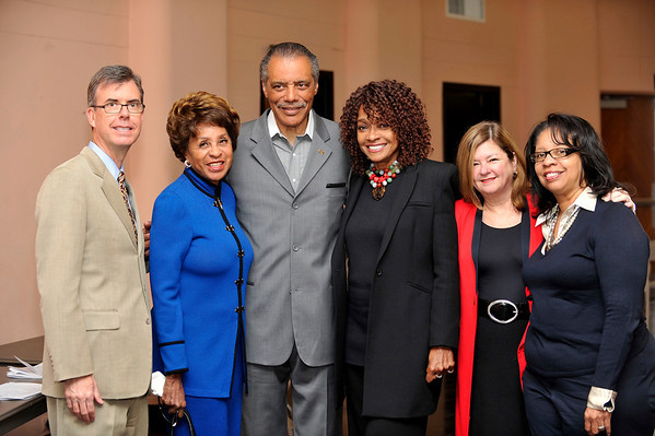 """DIVAS"" Join Bernard Parks, and city officials to kick off restoration of historic vision theatre in Leimert Park Village on March 3, 2011. Gary Lee Moore, Marla Gibbs, Bernard Parks, Beverly Todd, Olga Goray, and Dr. Lula Balton. Valerie Goodloe"