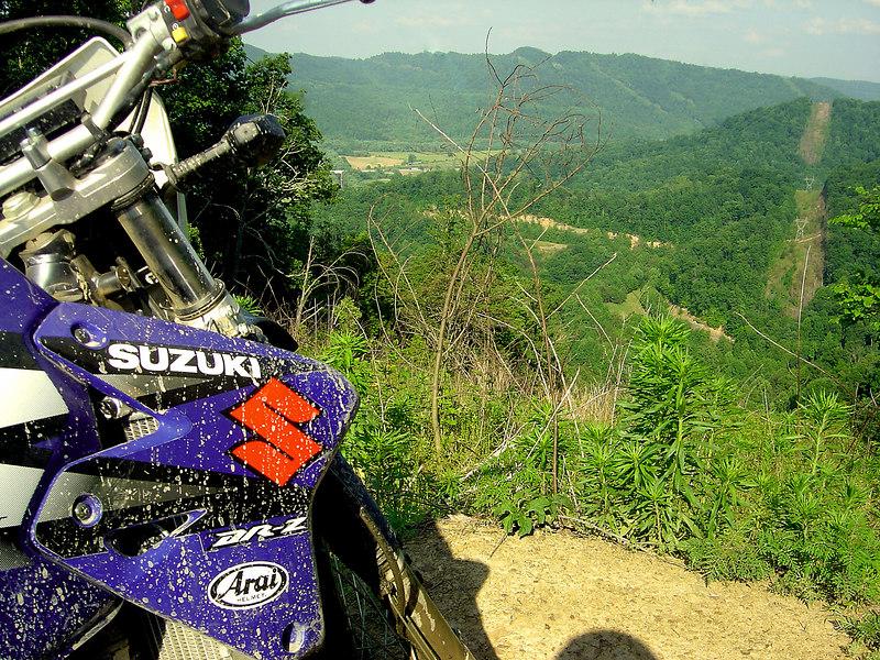 Suzuki DRZ 400 overlooking Flat Lick (Knox County), KY