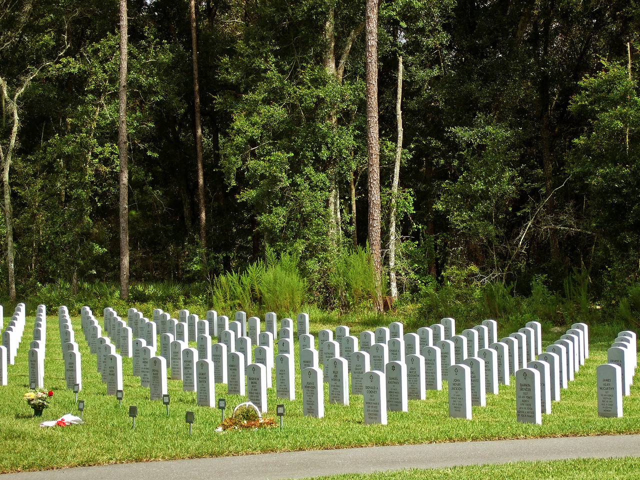 A view of a completed  area of the cemetery.