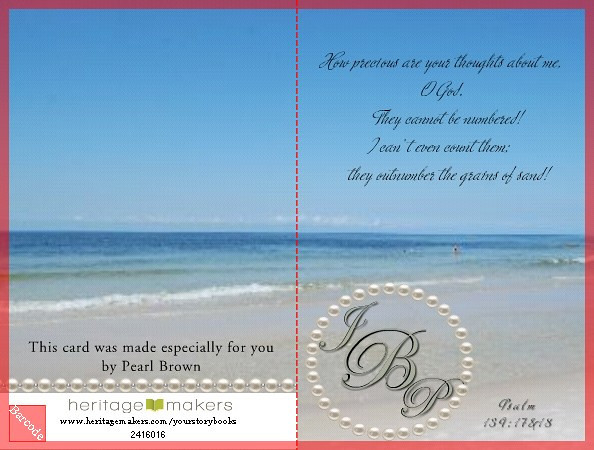 """Card for HM """"Monogram"""" contest  -  Front and Back<br /> <br /> One of my pics from a trip to Panama City to see Aunt Pearl (yes)<br /> <br /> If you have time you should check out this great company,   <a href=""""http://www.YourStoryBooks.com"""">http://www.YourStoryBooks.com</a>  This card is costing me less than $2 to produce, which about half of the cost from SM print houses and I am not stuck with one template.<br /> <br /> It is a direct sale company much like ..Tupperware, MaryKay, Pampered Chef, 31..etc..With the exception of being able to build residual income by building a team of like minded people who love helping people.  The company's mission it to encourage Everyone to preserve their photographic heritage AND to tell their stories.  <br /> <br /> Anyone can use this great tool to make a wonderful assortment of things from cards..canvas..metallic prints..mugs..mailing labels..posters..etc. <br /> Lisa was very uncertain when we first began because she was not very computer savy..but when she started she made two canvases in just a few minutes and then walked around saying """"This is so easy""""..yes, hon..that's what i've been telling you; we also have one club member who is 93 and loves HM, it gives her something constructive to do with her time, she has created and published 4 projects in the past 3 months and is now working on her life story.<br /> <br /> There are over 9,000 templates available on Club HM and over 100,000 pieces of art; each template is completely changable..you are not stuck with one or two choices...there are thousands...the only limit is your imagination.  If you don't see it out on our website, create your own and upload it.<br /> <br /> The compensation plan and rewards from this company are awesome.  You can build points (TAC) - Top Achiever Compensation - to pay for a 8 day cruise for one or two or even more if you are a real achiever.  They have a Reunion every year to educate and celebrate, you can earn points to help pay for this tr"""