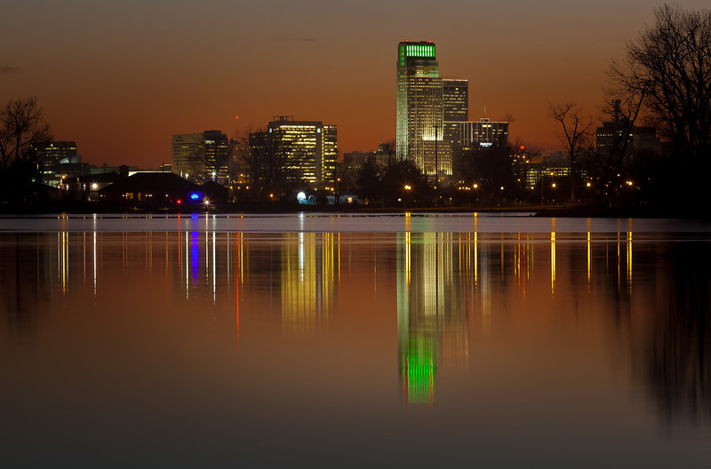 16DEC2012<br /> <br /> Reflecting Omaha<br /> <br /> Some holiday color off the lake......Merry Christmas to you and yours, we have a drizzle of light snow this morning.<br /> <br /> Have a great day!