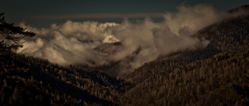 Smokie Mountains Weather....<br /> <br /> With the trees covered with a coating of ice the clouds dance around in the valley. Just over the border into Tennessee one pullout down from clingmans dome.